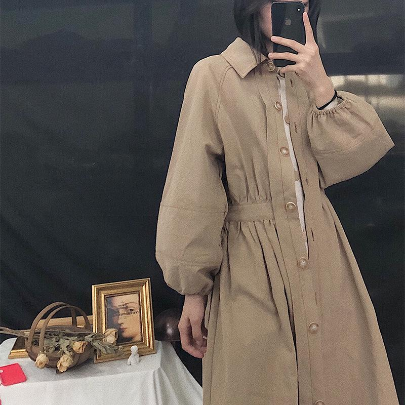 Vintage Waist Slim Single-breasted Long Coat For Female Women Fashion Loose Casual Khaki Trench Coat Korean Women's Autumn