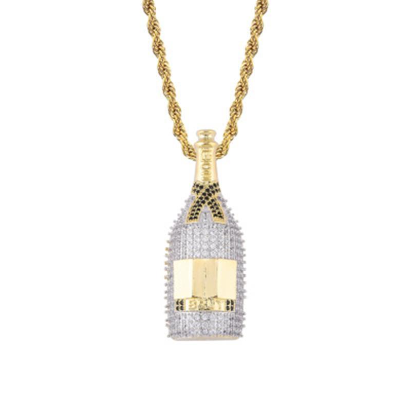 Winebottle kolye kolye 18K altın kaplama bakır işlemeli Taşlı winebottle kolye 60cm Paslanmaz Çelik Zincir