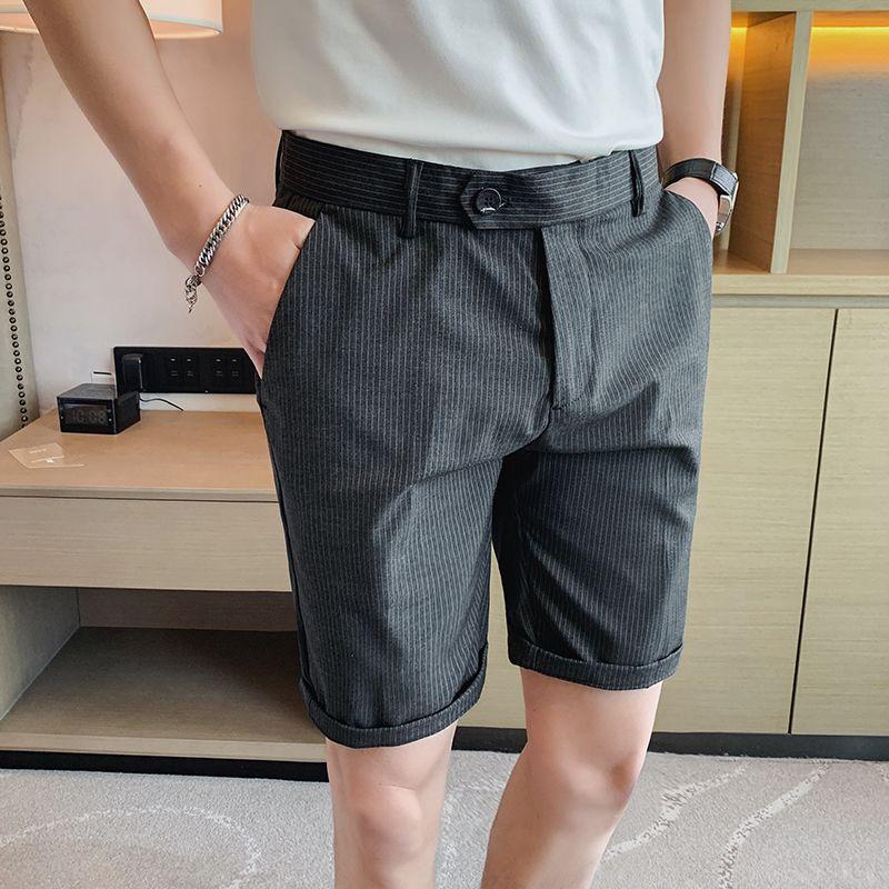 Pinstripe Pants Mens 2020 Sommer-Kurzschluss Anzughose Grau Büro Slim Fit beiläufige Klage Shorts Sozial Klassisch Kleid Schwarz