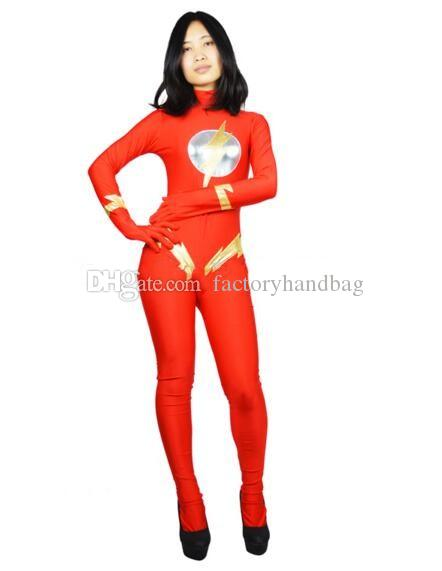 The Woman Flash Costume One Piece Girl The Flash Suit Sexy Red Flash Halloween Superhero Costume