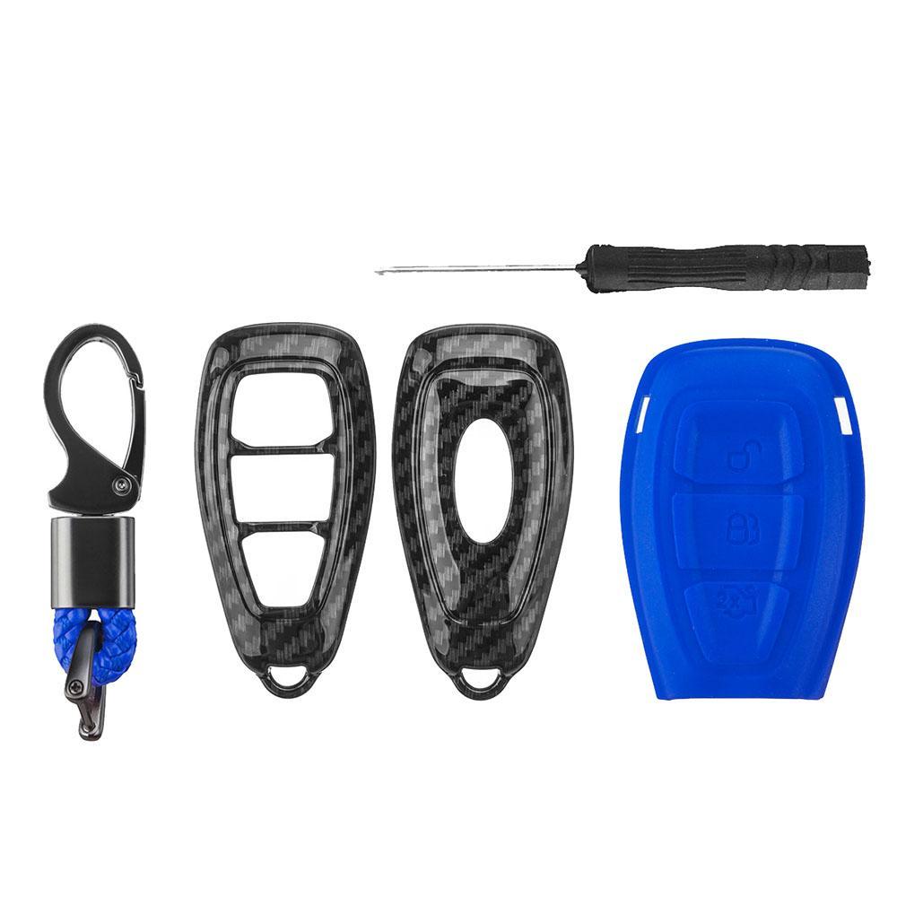 Fords / Fo-cus / Fiesta / Kuga / C-Max를위한 탄소 섬유 먼 열쇠 고리 케이스 포탄 덮개