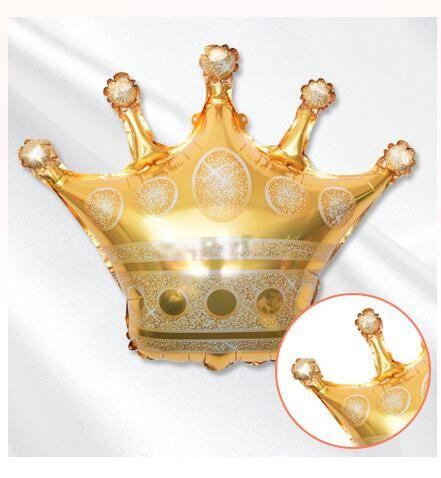 mutlu yıllar düğün bebek dekorasyon nt için balonlar folyo DHL 68 * 73CM altın taç helyum balon prenses taç