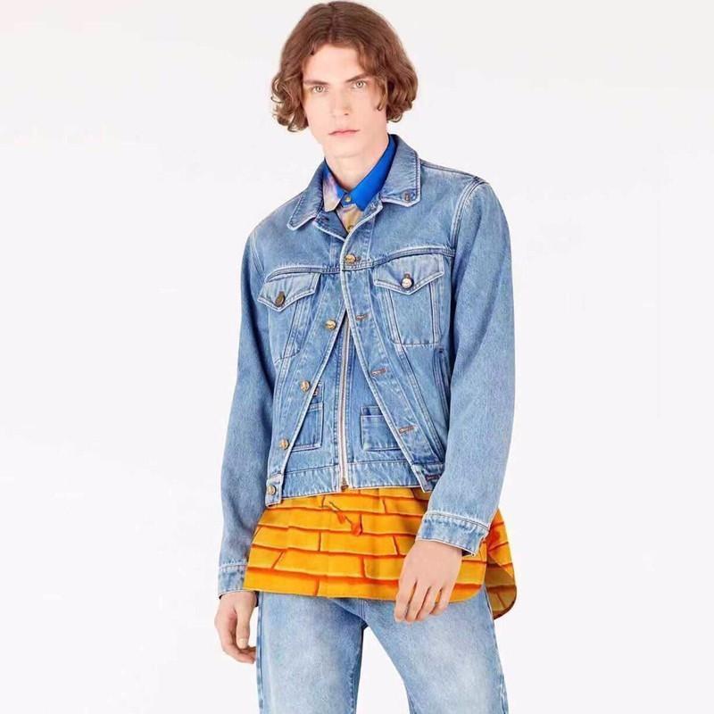 19SS Франция мода джинсовая куртка поддельные две части джинсы старинные женщины мужчины повседневная верхняя одежда улица хип-хоп высокого класса джинсовые куртки HFYMJK208