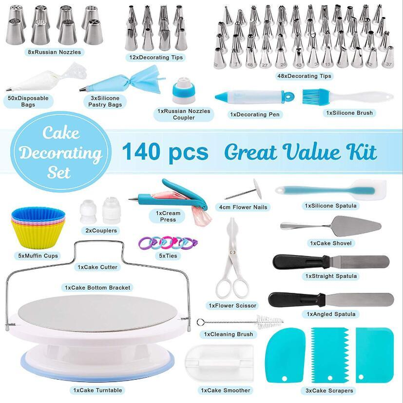 Werkzeuge für Kuchen Laminat Mund Backenwerkzeug Kuchenform Kuchen Drehscheibe 140 Sätze DHL-freies Verschiffen zu machen