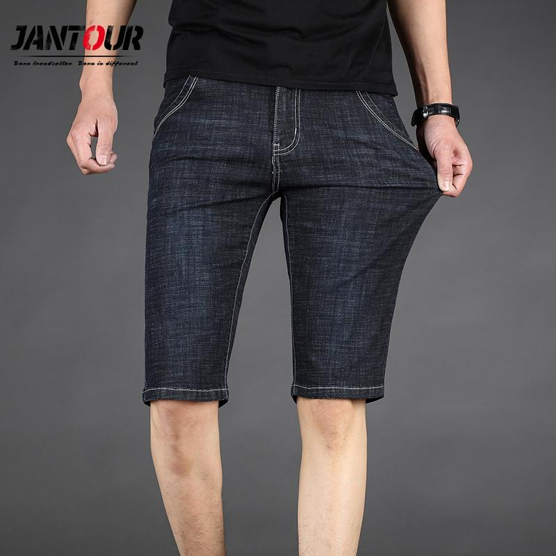 Mann-Denim-Shorts Sommer-neue Art Thin Section elastische Kraft Slim Fit Jeans Short Männlich Kleidung Schwarz Blau 35 40 42 44 46