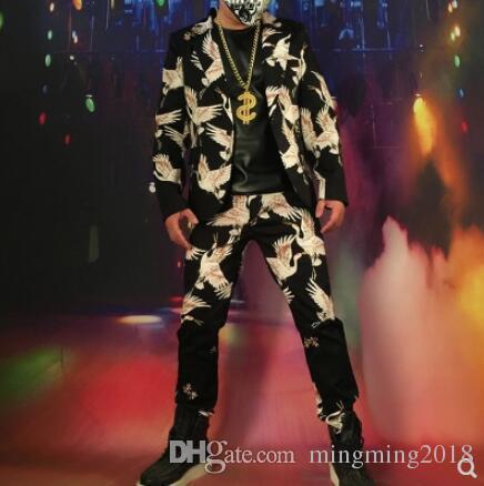 S-5XL 2019 New Men's clothing Brand fashion DJ DG Crane fashion vintage suit set Singer Bar stage Costume hairstylist plus size formal dress