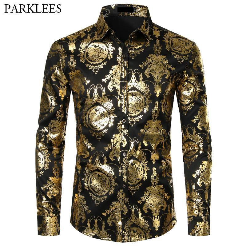 GH Mens Flower Shirt Fashion Contrast Color Short Sleeve Printed Loose Shirt