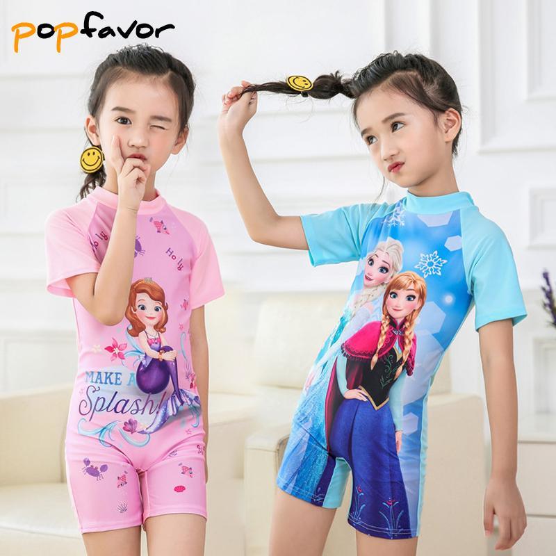 POPFAVOR Marka Kız One Piece Mayo Çocuk tek parça mayo Çocuk Güneş Koruyucu Giysi Karikatür bodysuit Bikini