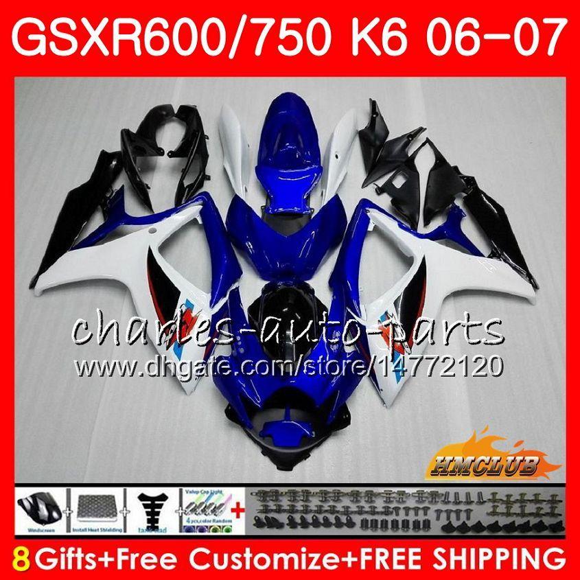 Suzuki GSX R600 GSX R750 GSXR600 2006 2007 8HC.1 GSX-R600 GSXR-750 K6ブルーホワイトホットGSXR 600 750 06-07 GSXR750 06 07フェアリングキット