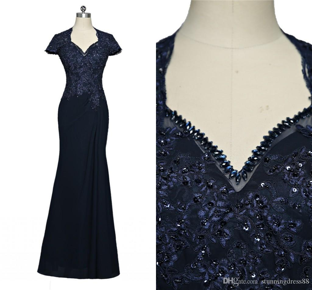 Stunning Navy Mermaid 2020 Mother of the Bride Groom Dresses With Crystal Bling Sequins Applique Lace Cheap Long Evening Formal Dress