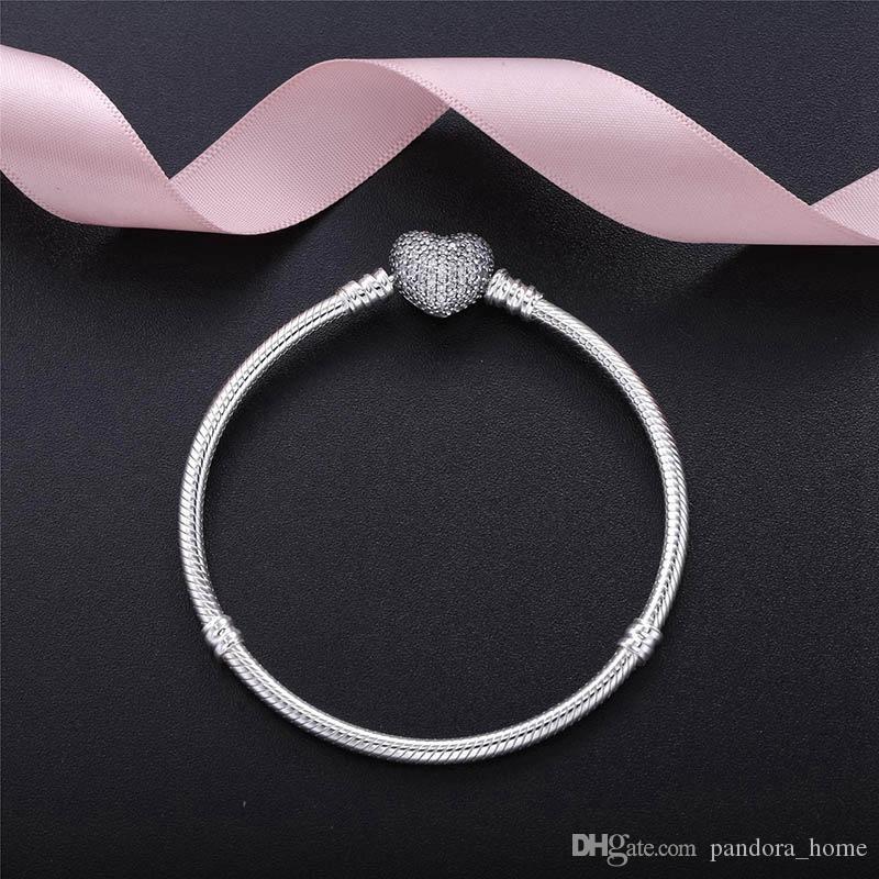 رومانسية القلب تشيكوسلوفاكيا سوار الماس لباندورا فاخر مصمم 925 فضة أزياء سيدة سوار الأفعى هدية العيد مع صندوق