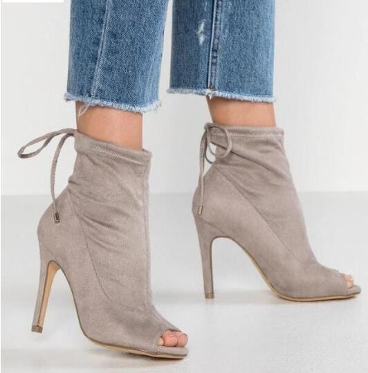 2019 primavera novas mulheres botas de salto fino cinza cor mulheres ankle booties peep toe botas ladies party shoes slip on mujer