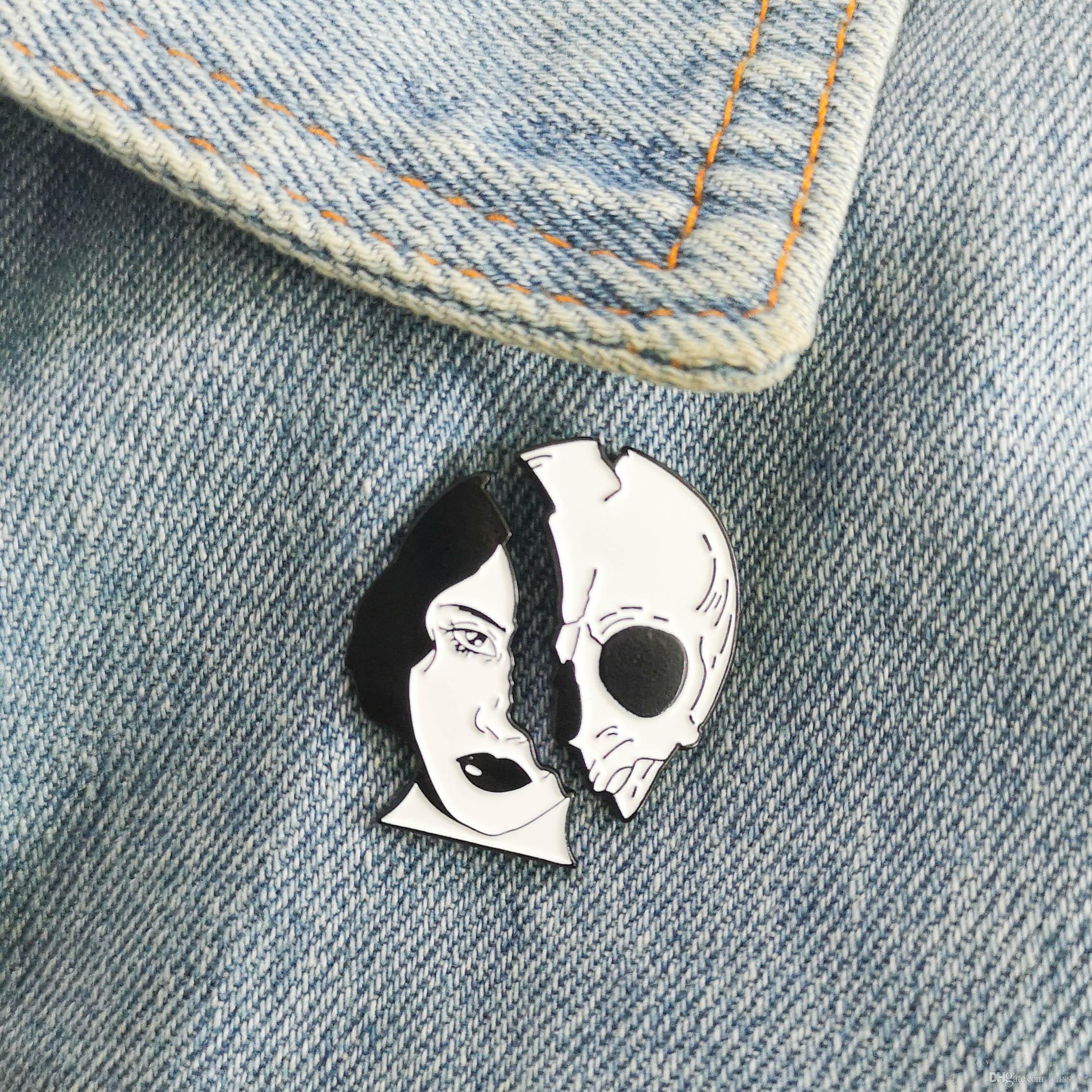 Esmalte Pinos do crânio Broches Saco Roupa lapela o emblema Punk presente Jóias Dead Cool amantes da face da mulher esqueleto personalizado