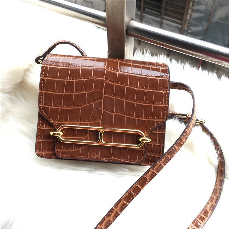 Elegant2019 naso di maiale Coccodrillo Stripes Across The Leather Bag