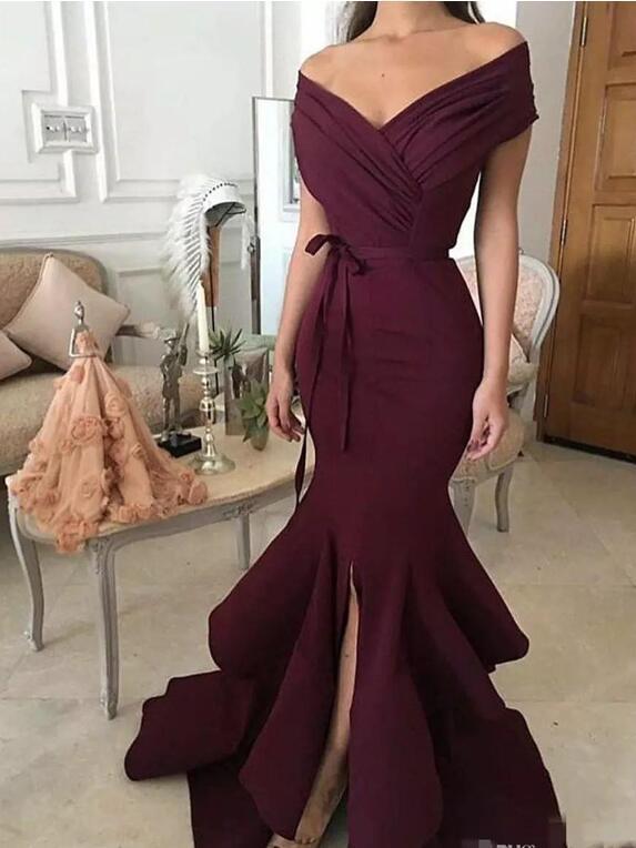 2018 темно-красный Вечерние платья Новая мода Русалка -плеча Satin Long Formal Prom Wear Split Бальные платья для женщин плюс размер
