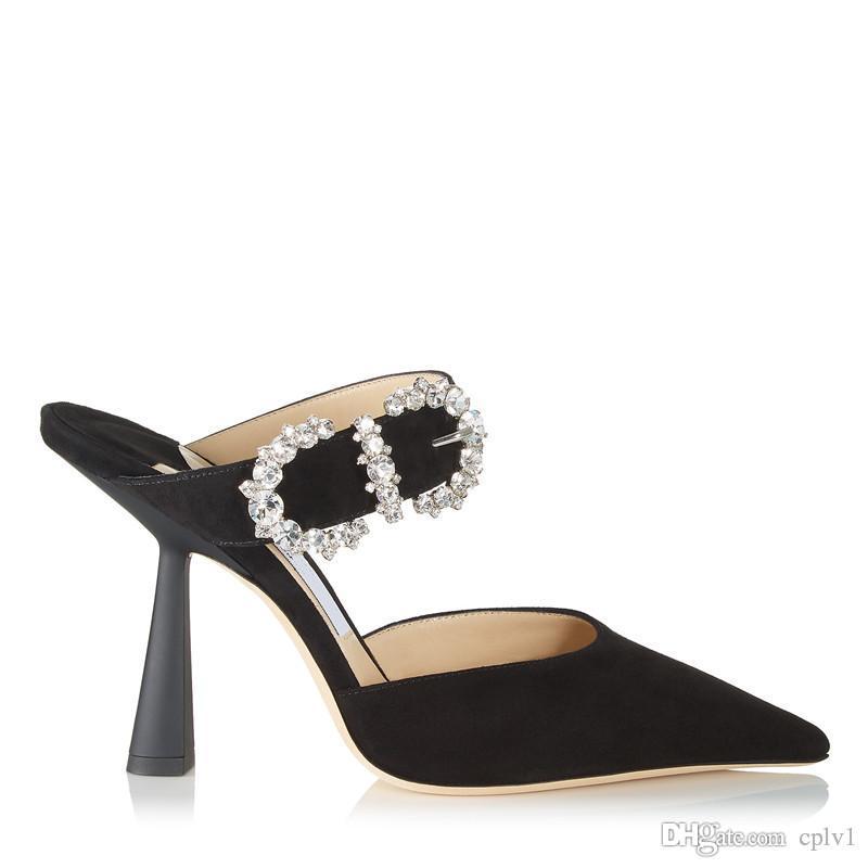 Mulheres Designer Slippe Vestido salto alto sandálias brilhante fivela com saltos finos apontou volta sandálias femininas vazios com saltos altos