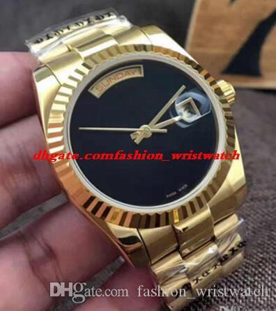 Relógio de luxo 2 Estilo 18 K Ouro Mens Automático 36 MM Assista Glide Suave Face Preta Mecânica Moda Masculina Relógios