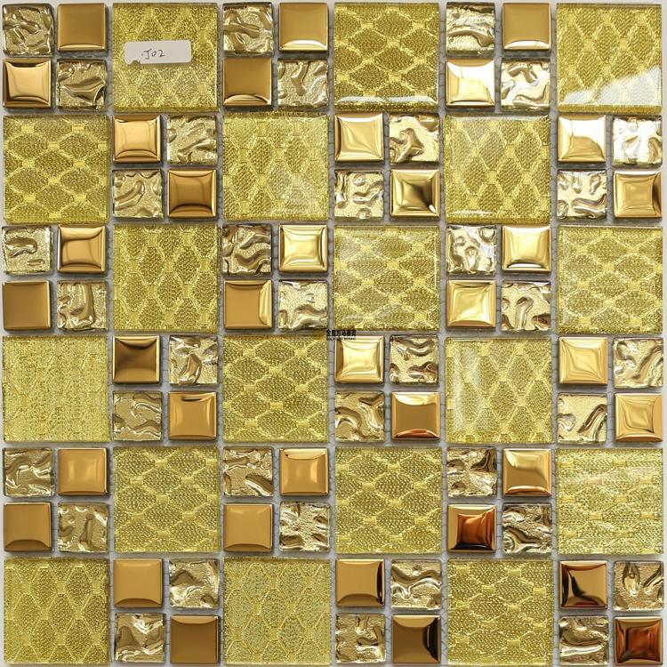 Sarı altın cam mozaik backsplash duvar karosu JMFGT012 mutfak banyo için altın cam karo galvanik