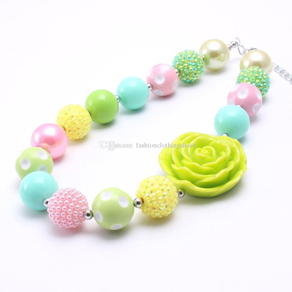 Lime Green Rose Flower Beads Kid Chunky Necklace Bright Color Design DIY Bubblegum Bead Chunky Necklace Children Jewelry For Toddler Girls
