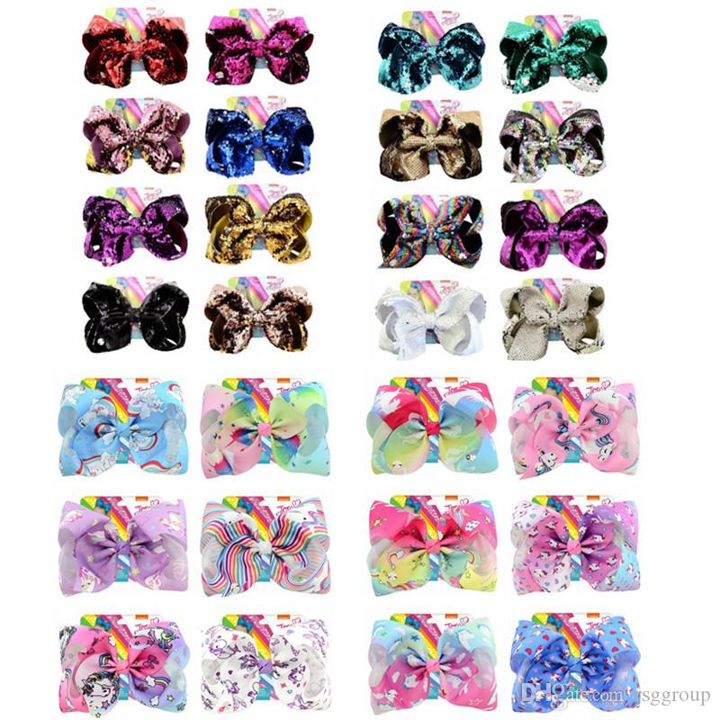 Free DHL Unicorn Sequins JOJO SIWA baby girl Children 8 inch LARGE Rainbow Signature HAIR BOW with card Hair Accessories fashion hair clips