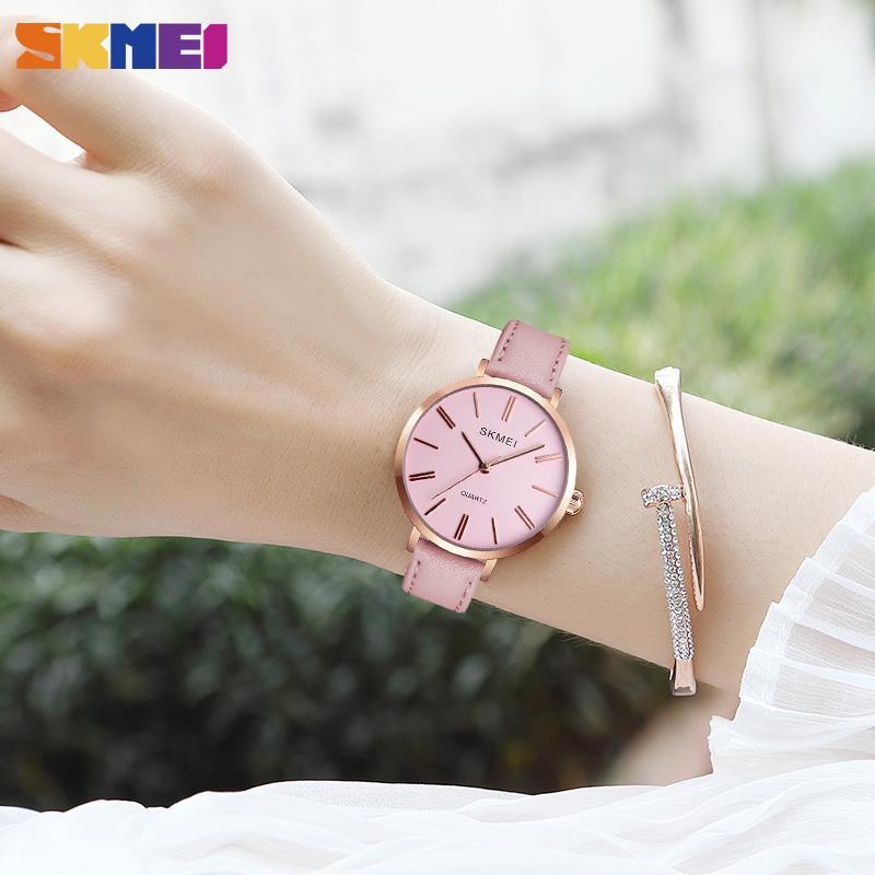 SKMEI Mode-Frauen-Uhren Lässige Lederarmbanduhr Einfach 3bar wasserdichte Quarz-Armbanduhr Damen Relogio Feminino 1397