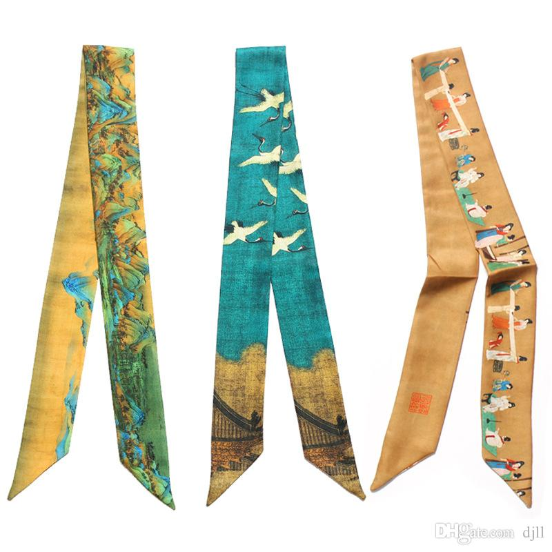 Colorful Hand Bag Handle Scarves Retro Ethic Style Painting Women Small Silk Scarf kerchief Ribbon Neckerchief Print Hat Scarves & Wraps