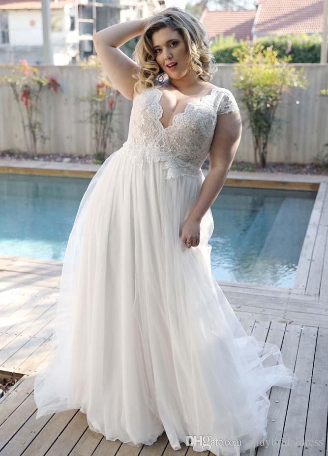 Cuello en V profundo Una línea Más Vestidos de novia de tamaño Sin mangas con espalda baja Más vestidos de talla grande para la novia 2019