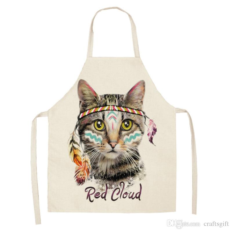 2Pcs 47*66cm Kitchen Aprons for Woman Cute Cartoon Cat Printed Sleeveless Cotton Linen Cooking Aprons Home Cleaning Tools