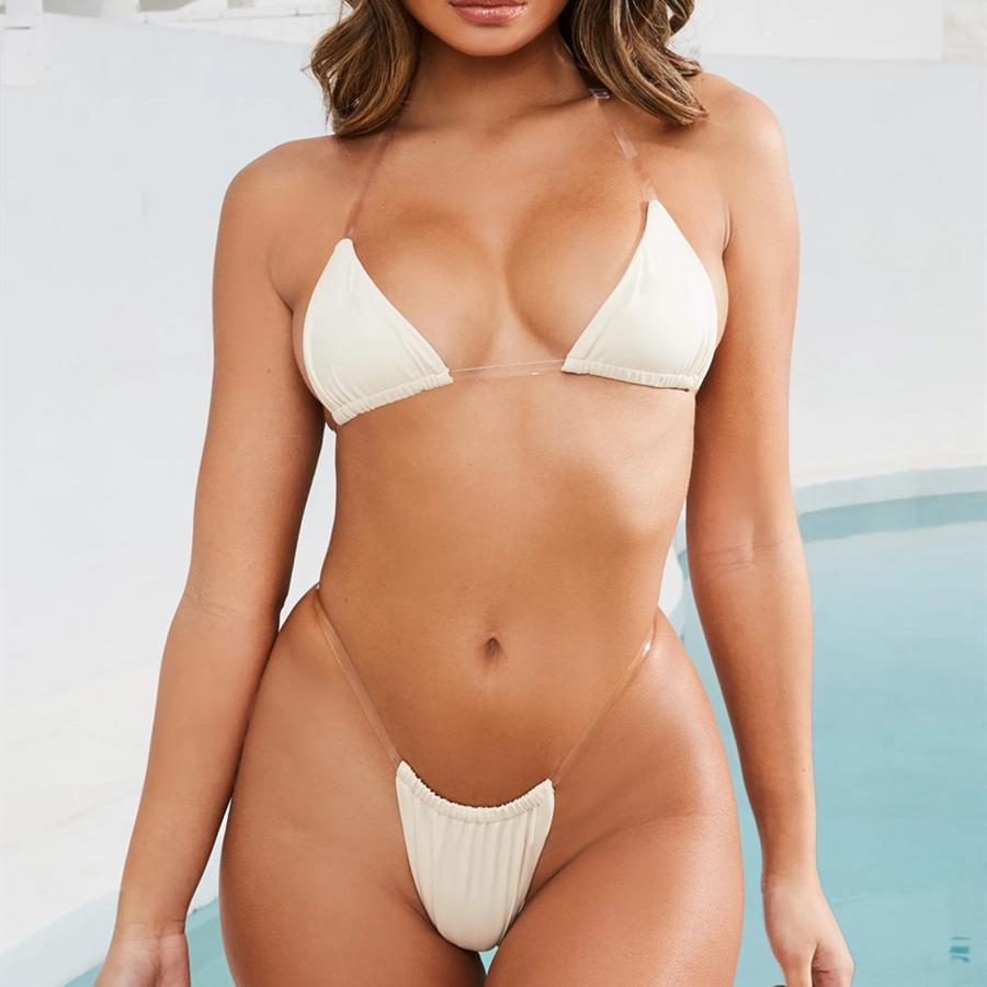 Invisible String Beige Bikinis Women 2019 Women Swimsuits High Cut Thong Sexy Swimwear Bathing Suits Maillot De Bain Femme