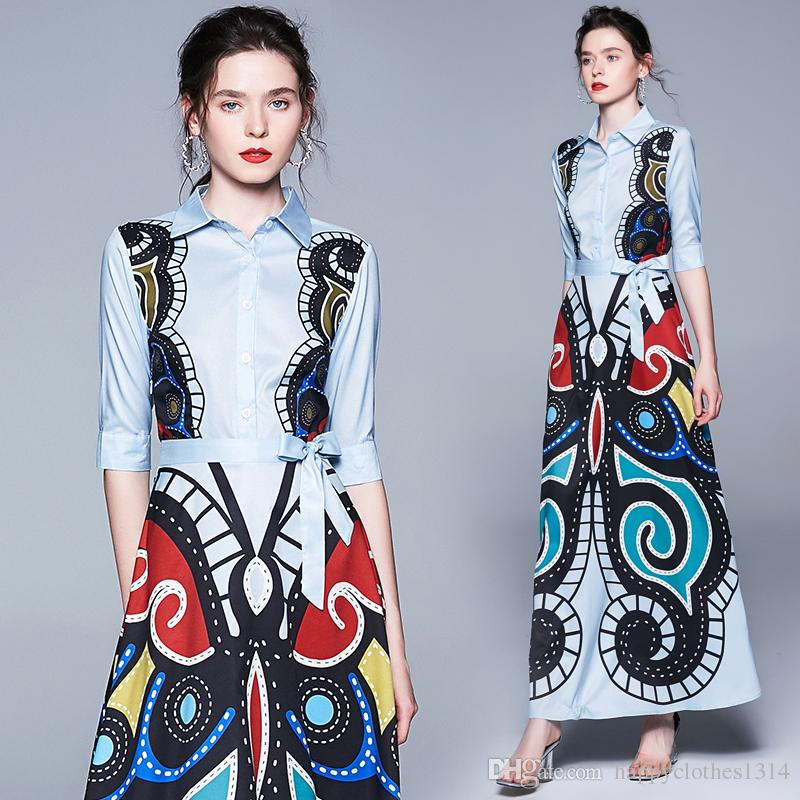 Top nuevo estilo de la moda botón de impresión floral frente a la solapa cuello vestido de la pista de alta calidad de la oficina de las señoras atractivas delgadas ocasionales vestidos de fiesta
