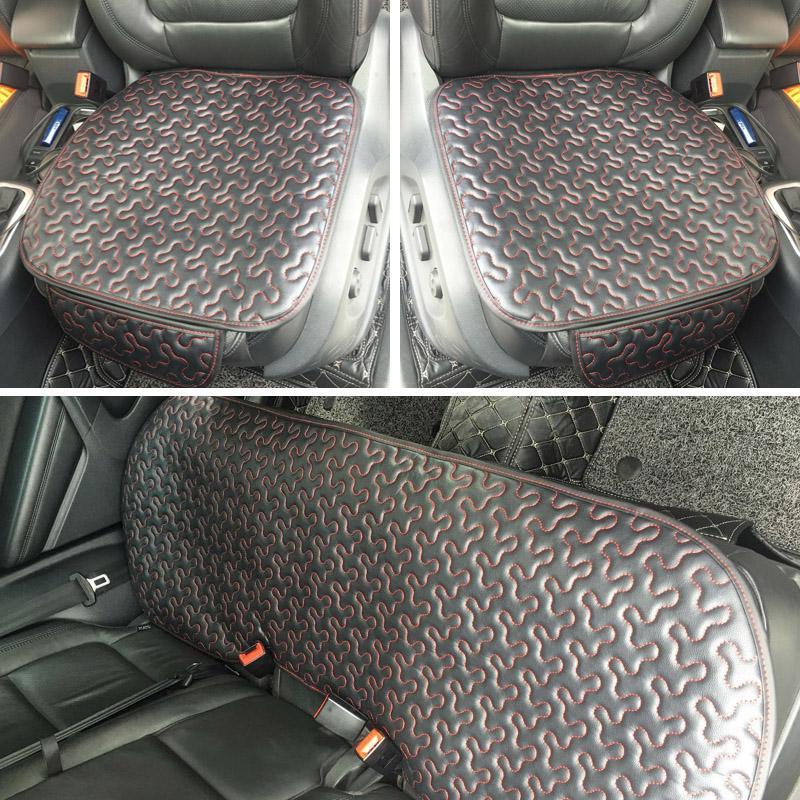 3PCS Front+Reat Seats Cushion Pad Leather Car Seat Cover Cushion Protectors Pad