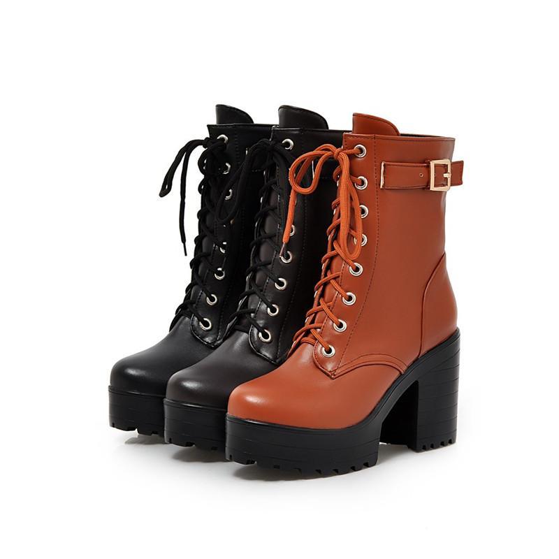 Hot Sale-2018 Otoño Invierno Mujer Botines gruesos Suela Tacones Negro Lace up Mujeres Punk Botas Sexy Ladies Boots Zapatos de Talla grande