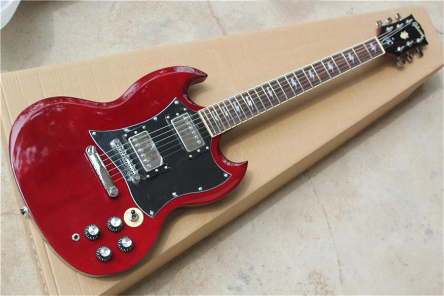Ücretsiz kargo fabrika özel kırmızı şarap gitar, krom donanım, büyük siyah pakap, maun vücut, gülağacı klavye, manyetikler