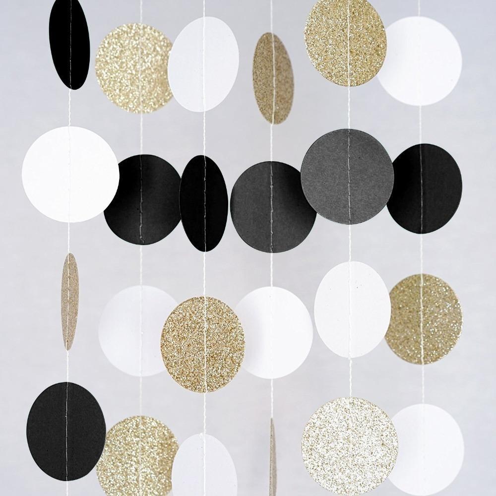 Glitter Black White Gold Hanging Circle Garland Decoraciones para fiestas de cumpleaños Eventos para adultos Fiesta Aniversario Decoración de fondo
