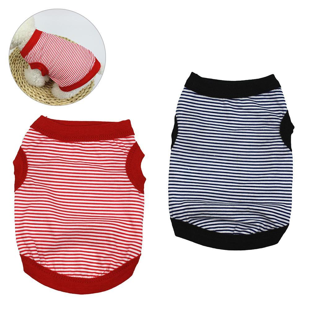Pet Dog Striped Clothes Cotton Vest Soft Breathabl T-shirt Costum Apparel Breathable Cotton Stripe For Pet's Decorative Clothing