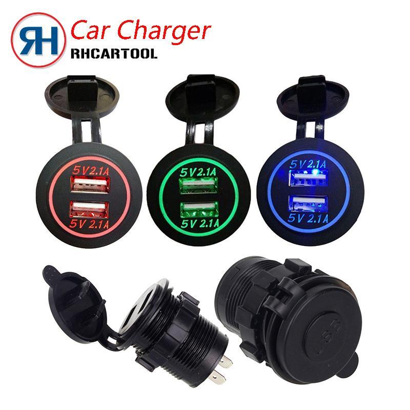 سيارة سوبر موتو شاحن USB 12 / 24V أسود مقاوم للماء السجائر في السيارة السيارات ولاعة للشحن موبايل للدراجات النارية الحرة