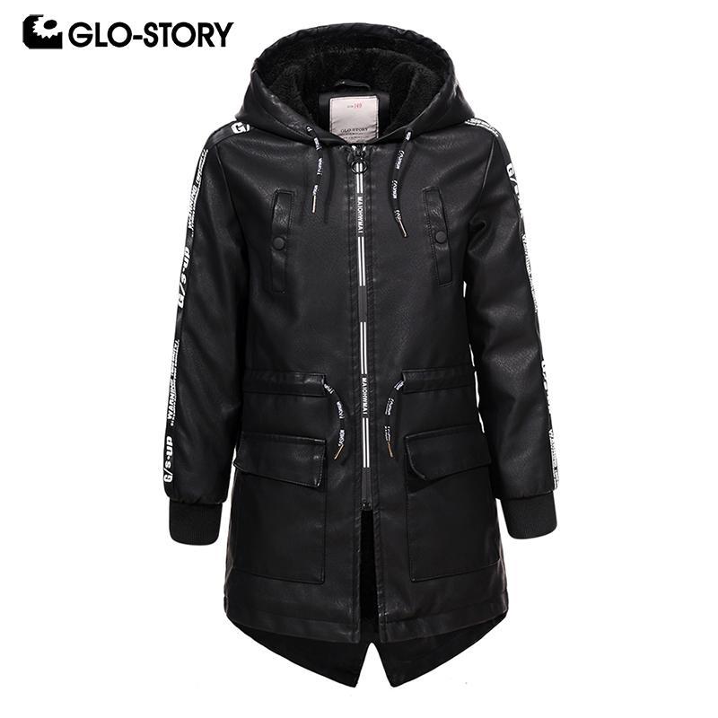GLO-STORY شحنها من الأطفال الأوروبي بنين لونغ فو جاكيتات جلدية للأطفال في فصل الشتاء الصوف اينر أبلى سترة واقية معاطف 7445