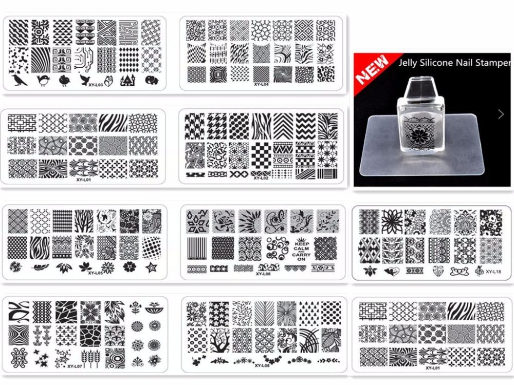 10pcs Christmas Nail Art Stamping Plates+1 set Stamper Manicure DIY Kit Image Plastic Nail Templates Stencils Beauty Polish Tool