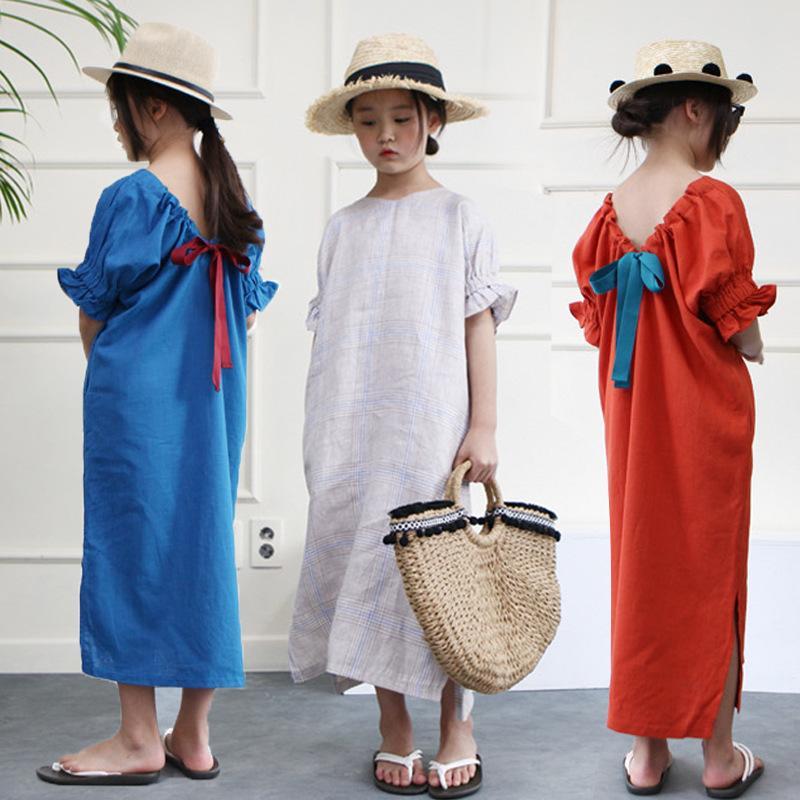 Nuovo 2019 ragazze vestito estivo Split Bow ragazze Maxi vestito lungo bambini Vestito moda cotone madre e figlia vestito # 3920 J190612