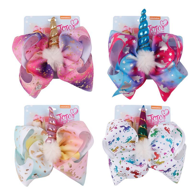 8 Inch JOJO Bow Girl Hair Bows Unicorn Star Rainbow Feather Design Children Kids Hair Clips JOJO SIWA Fashion Hair Accessory for Baby
