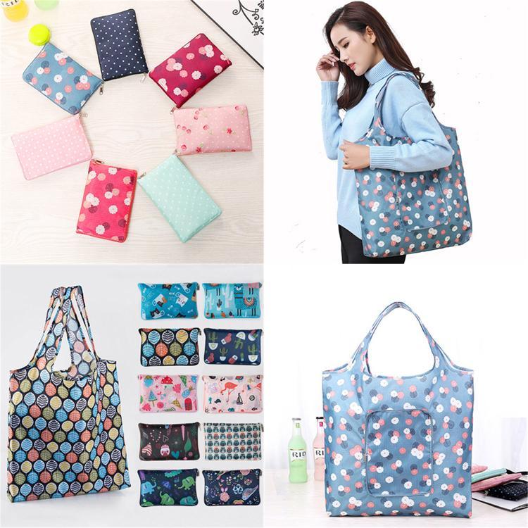 29 estilos dobrável sacos de compra floral impresso portáteis à prova de água reutilizável Storage Bag Eco-friendly sacos de compra Tote bolsas FJ876