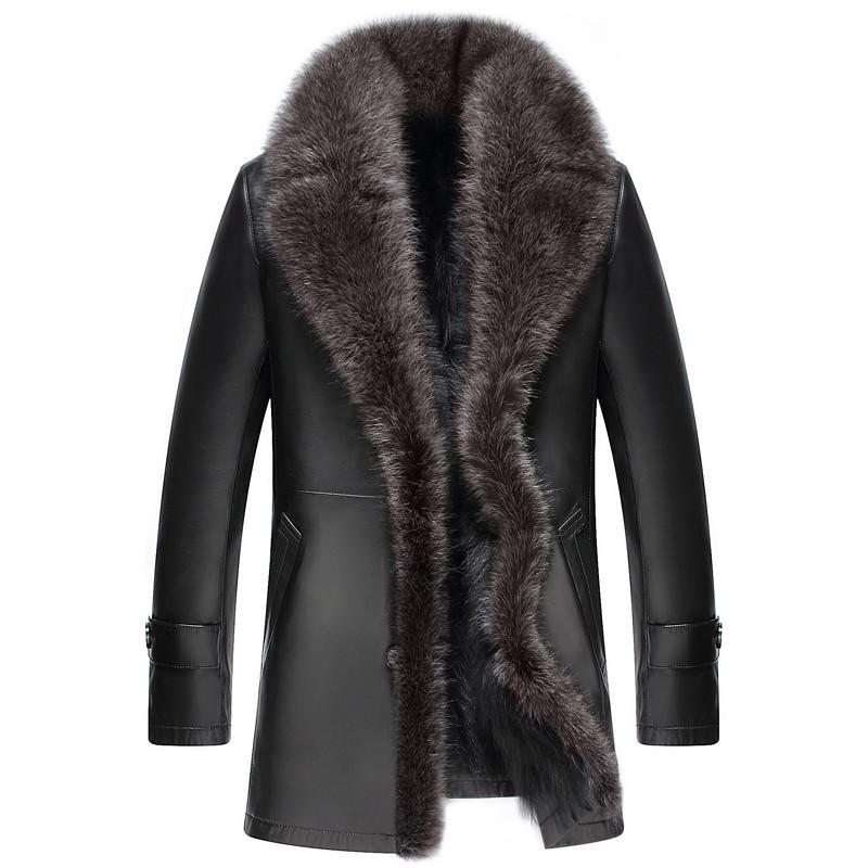 Hakiki Deri Ceket Erkekler Kış Ceket Gerçek Koyun Ceket Erkekler için Rakun Kürk Sıcak Ceketler Artı Boyutu 5xl Veste Homme MY1761