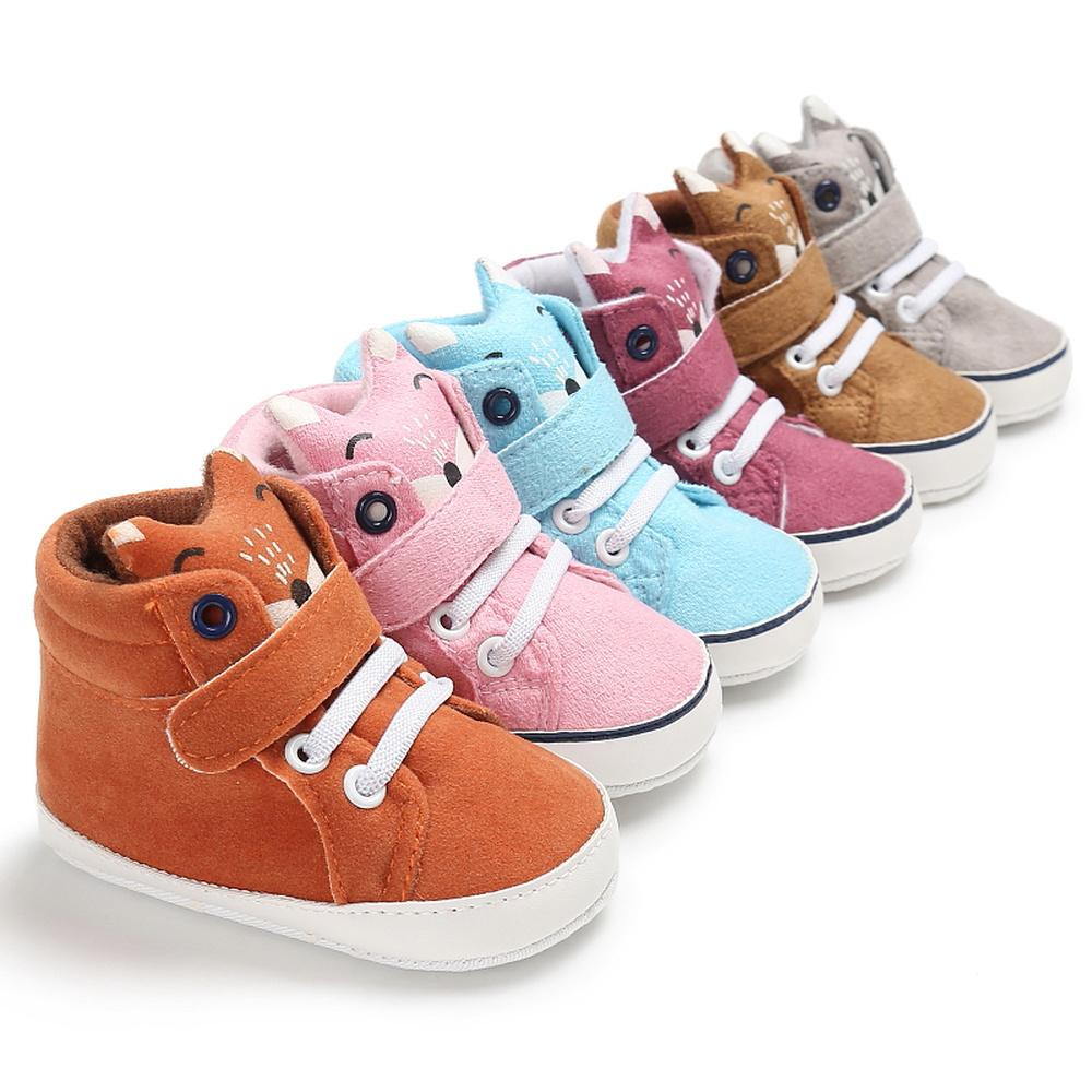 Baby Shoes Girl Boy Outdoor Sneaker Canvas Cotton Cute Fox Head Multicolor Lace-up Toddler Crib First Walkers Infant Crib Shoes CY200512