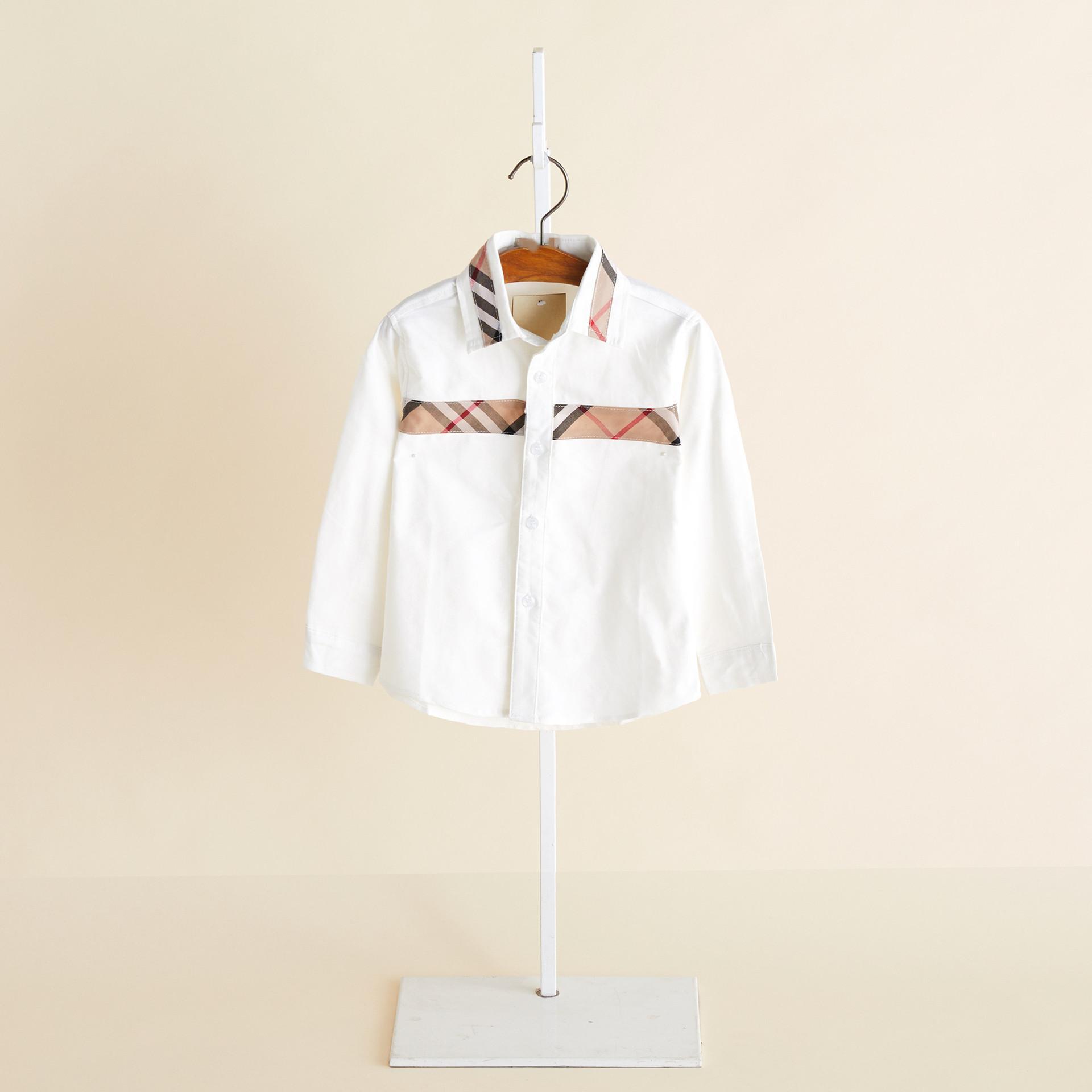 Весна 2020 новых детской одежды детей с длинными рукавами рубашки платья белые рубашки мальчиков клетчатую рубашку шить