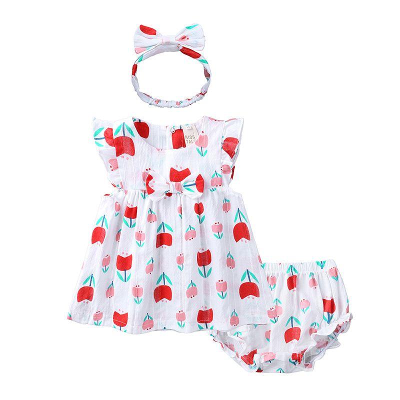 여자 의류 의상 여자 Outsuit 3M-4T 3 디자인 귀여운 활 드레스 딸기 인쇄 반바지 머리띠 세 조각 세트를 설정