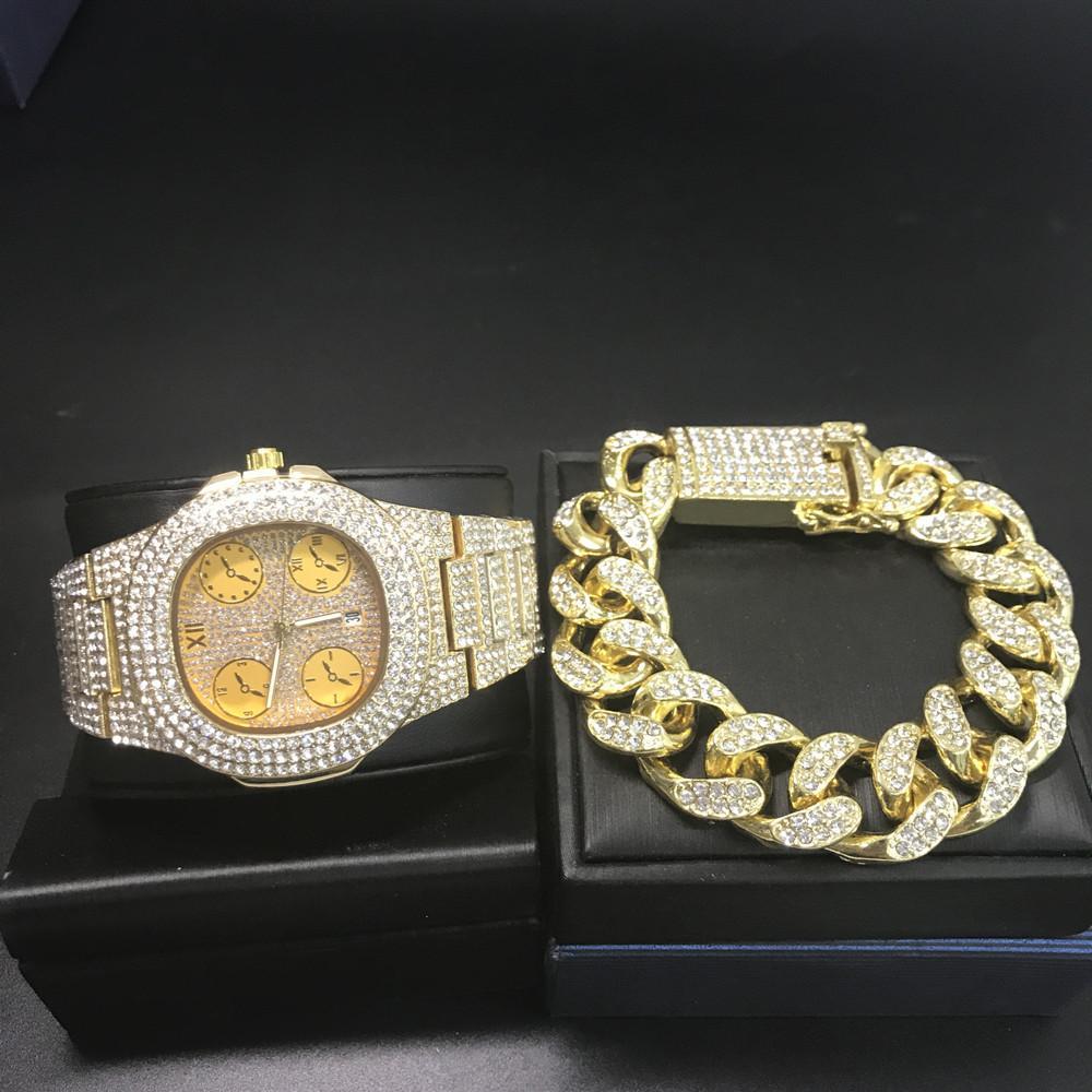 Moda Uomo Gold Diamond Diamond Watch Bracciale per gli uomini ghiaccia fuori cubana vigilanza superiore di marca hip hop per