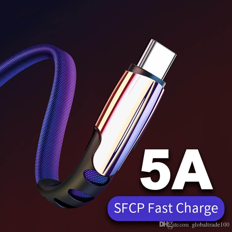 5A USB tipo C de carga USB de alta velocidad por cable c de tipo C Cable de datos del cargador del teléfono de Samsung S9 S8 Nota 9 8 Huawei P20