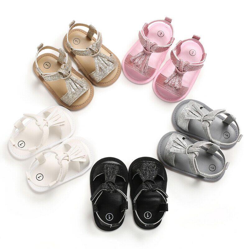 Enfant nouveau-né Tout-petit bébé Tassel anti-dérapant souple Sole Sneaker princesse Chaussures d'été Crib Casual First Prewalker