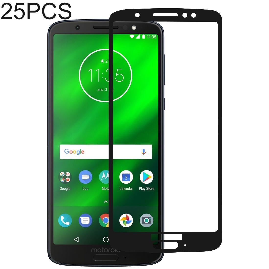 Premium Tempered Glass Screen Film 25 PCS 9H 5D Full Glue Full Screen Tempered Glass Film for Motorola Moto G6 Plus Anti-Scratch Screen Protector