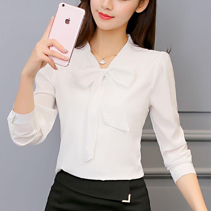 2020 Primavera-Verão Chiffon Shirt Bow Collar Womens Tops Moda OL Blusas Camisa Casual